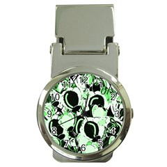 Green abstract garden Money Clip Watches