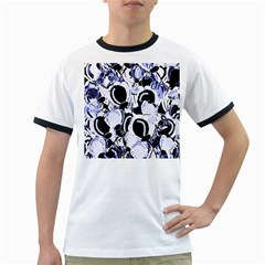 Blue abstract floral design Ringer T-Shirts