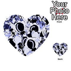 Blue Abstract Floral Design Multi Purpose Cards (heart)