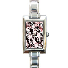 Pink abstract garden Rectangle Italian Charm Watch