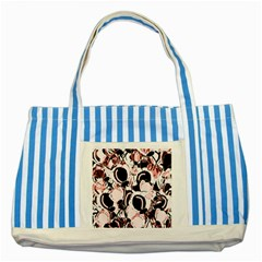 Pink abstract garden Striped Blue Tote Bag