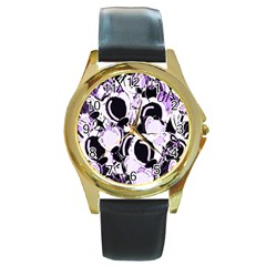 Purple abstract garden Round Gold Metal Watch