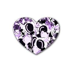 Purple abstract garden Rubber Coaster (Heart)