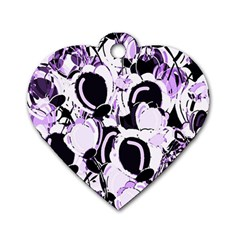 Purple abstract garden Dog Tag Heart (One Side)