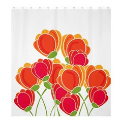 Orange Flowers  Shower Curtain 66  X 72  (large)