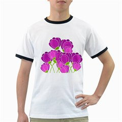 Purple flowers Ringer T-Shirts
