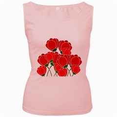 Red Floral Design Women s Pink Tank Top