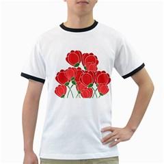 Red floral design Ringer T-Shirts