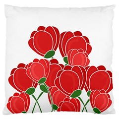 Red Floral Design Standard Flano Cushion Case (one Side)
