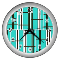 Black And White Stripes                                                                                                          wall Clock (silver)