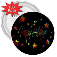 Happy holidays 3  Buttons (100 pack)