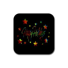 Happy holidays Rubber Square Coaster (4 pack)