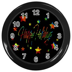 Happy holidays Wall Clocks (Black)
