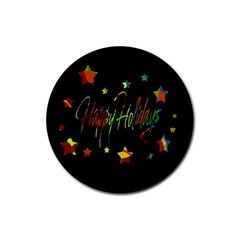 Happy holidays Rubber Coaster (Round)
