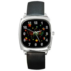 Happy holidays Square Metal Watch