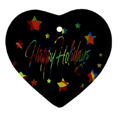 Happy holidays Heart Ornament (2 Sides)