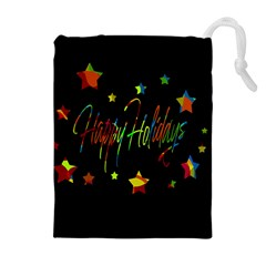 Happy holidays Drawstring Pouches (Extra Large)