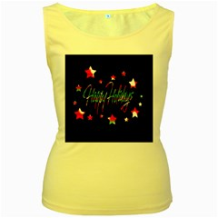 Happy Holidays 2  Women s Yellow Tank Top