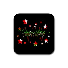 Happy Holidays 2  Rubber Square Coaster (4 pack)