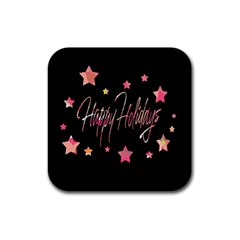 Happy Holidays 3 Rubber Coaster (Square)