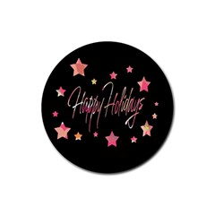 Happy Holidays 3 Rubber Round Coaster (4 pack)