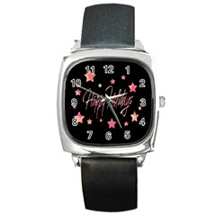 Happy Holidays 3 Square Metal Watch