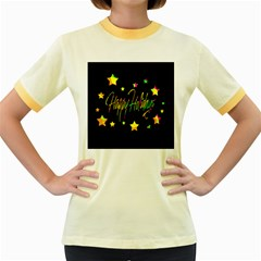 Happy Holidays 4 Women s Fitted Ringer T-Shirts