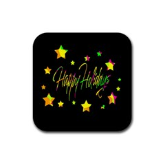 Happy Holidays 4 Rubber Square Coaster (4 pack)