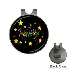 Happy Holidays 4 Hat Clips with Golf Markers