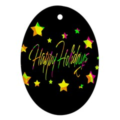 Happy Holidays 4 Oval Ornament (Two Sides)