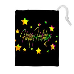 Happy Holidays 4 Drawstring Pouches (Extra Large)