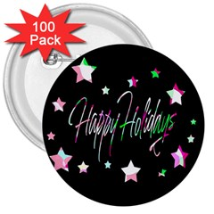 Happy Holidays 5 3  Buttons (100 pack)