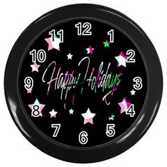 Happy Holidays 5 Wall Clocks (Black)