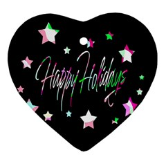 Happy Holidays 5 Heart Ornament (2 Sides)