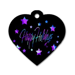 Happy Holidays 6 Dog Tag Heart (Two Sides)