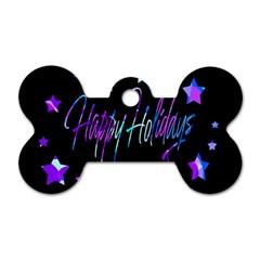 Happy Holidays 6 Dog Tag Bone (One Side)