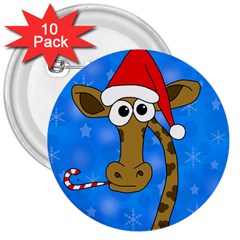 Xmas giraffe - blue 3  Buttons (10 pack)