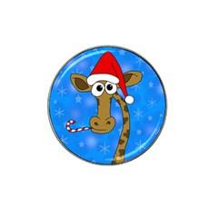 Xmas giraffe - blue Hat Clip Ball Marker (4 pack)