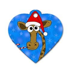 Xmas giraffe - blue Dog Tag Heart (One Side)