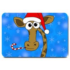 Xmas giraffe - blue Large Doormat