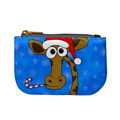 Xmas giraffe - blue Mini Coin Purses