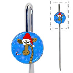 Xmas giraffe - blue Book Mark