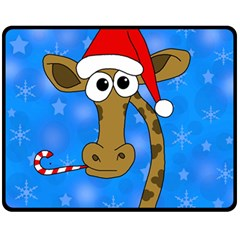 Xmas giraffe - blue Fleece Blanket (Medium)