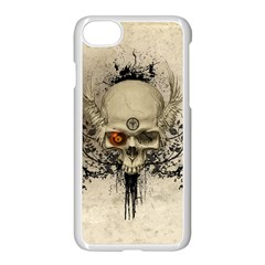 Awesome Skull With Flowers And Grunge Apple Iphone 7 Seamless Case (white)