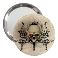 Awesome Skull With Flowers And Grunge 3  Handbag Mirrors
