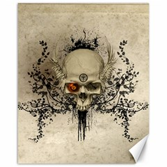 Awesome Skull With Flowers And Grunge Canvas 16  X 20