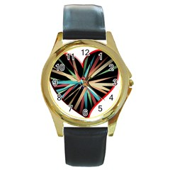 Above & Beyond Round Gold Metal Watch