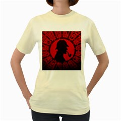 Book Cover For Sherlock Holmes And The Servants Of Hell Women s Yellow T Shirt
