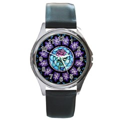 Cathedral Rosette Stained Glass Beauty And The Beast Round Metal Watch