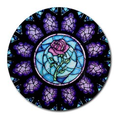 Cathedral Rosette Stained Glass Beauty And The Beast Round Mousepads